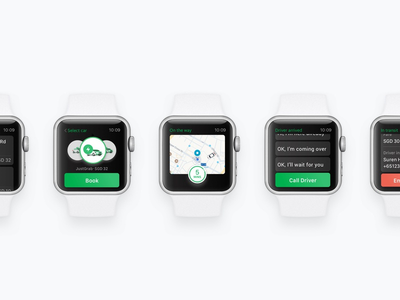 Apple watch concept for Grab transportation service applewatch ux interaction animation prototype ui watch app