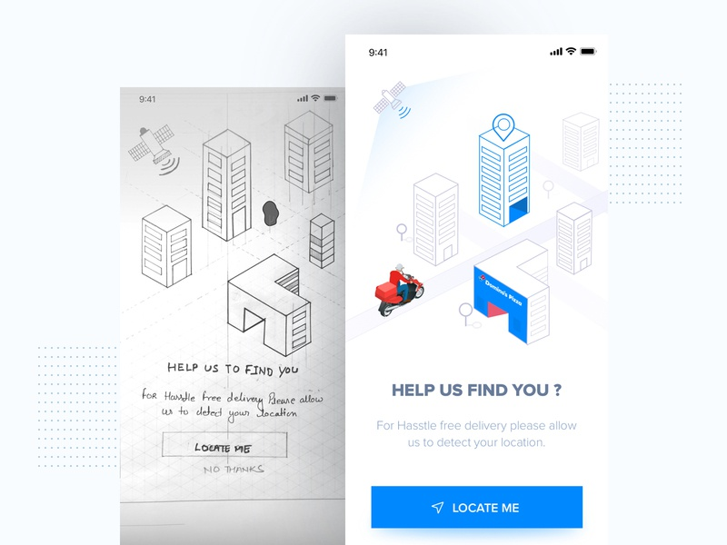 Location Access gps concept design sketch deliveryapp delivery dominos location app brand and identity illustration branding ux ui typography design