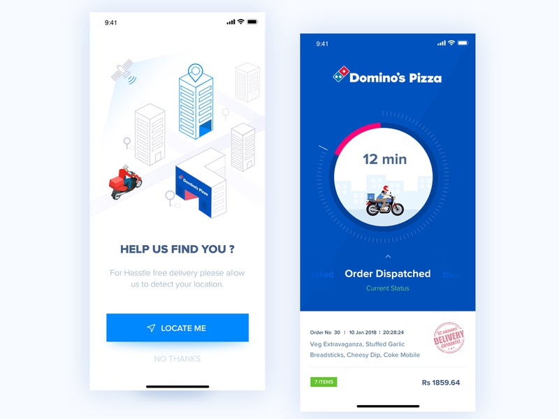 Domino's Location access & Track Order rupendesign userinterfacedesign uitrends vector brand and identity design illustration typography concept design pizza branding location delivery status trackorder userinterface ux design ui app dominosapp dominos