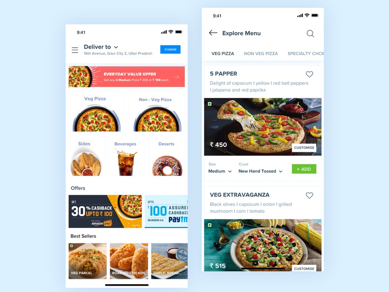 Domino's Landing & Explore Menu explore food and beverage pizza order pizzaonline pizza foodmenu rupendesign ux interaction design appdesign dominos app userinterfacedesign branding userinterface typography concept design uitrends dominos brand and identity ui