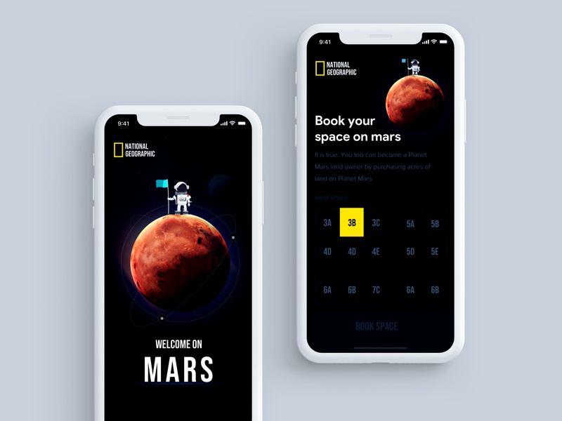 Mars Experience mars experience latest ui space userinterfacedesign dribbble uidesign appdesign app uitrends design ux concept design ui technology mars planet earth planet booking app booking national geographic