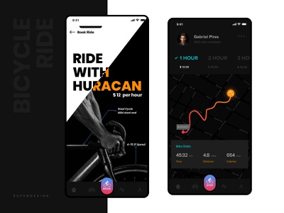 Bicycle on Rent eco friendly rupendesign interaction design brand dribbble black bicycle on rent uidesign ux design uitrends userinterfacedesign typography app appdesign userinterface branding concept design bicycle ui