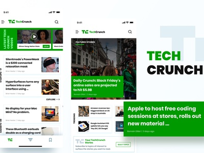 Techcrunch Design App rupendesign card layout dribbble userinterface vector uitrends uidesign appdesign typography brand and identity branding userinterfacedesign app design ux concept design ui tech company tech design techcrunch