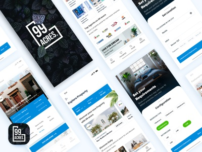 99 Acres ( Concept ) illustration userinterfacedesign typography rupendesign dribbble branding design interaction design brand and identity app userinterface appdesign uidesign uitrends home app property search property ux concept design ui
