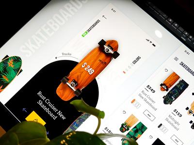 Skateboard App Concept! dubai ui  ux design black app skate deck cartdesign app interaction design userinterfacedesign product product card rupendesign branding uitrends uidesign appdesign userinterface ux ui skateboard skateboard design