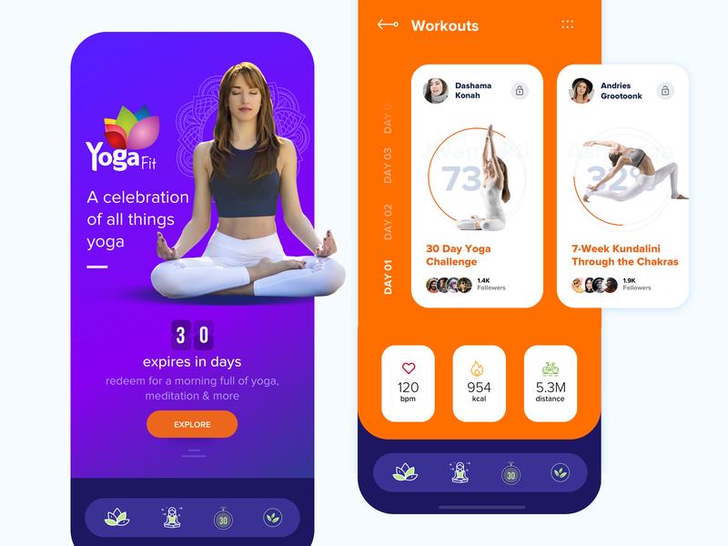 Yoga App - Concept meditation app typography illustration appdesign uidesign brand and identity design userinterfacedesign concept design ux uitrends yoga yogaapp userinterface ui