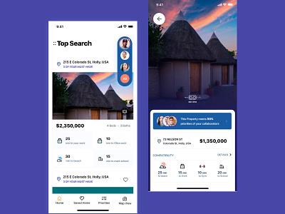 Property App dailyui application app design illustrator location searching filter profile search uidesign appdesign uitrends concept design app ux design userinterface ui property property search