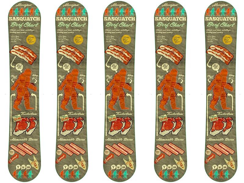 Moosejaw Snowboard Pitch/concept snowboard moosejaw epix meat beef chart sasquatch illustration poster detroit