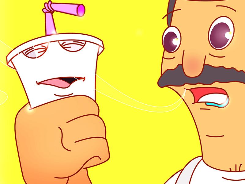 Bob and Shake graphic illustration aquateen shake cartoon athf bobsburgers yellow