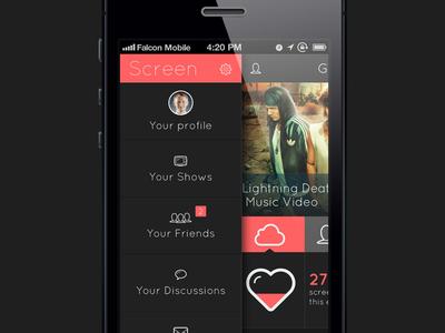 Screen - Menu app falcon white flat mobile ui