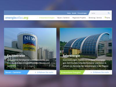 Energieatlas materialdesign cards navigation webdesign portal
