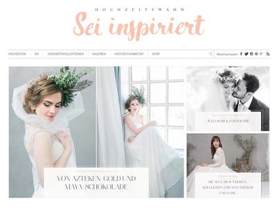Hochzeitswahn.de web sophisticated white clean frontage homepage web design website wedding hochzeitswahn