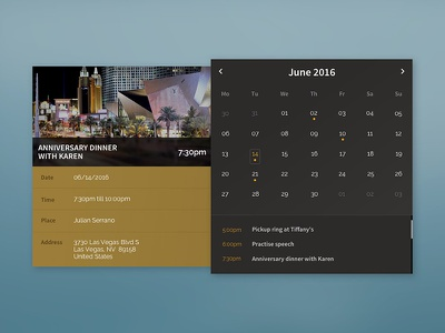 Calendar UI user interface gold black dark slide out card calendar ui