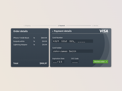 Daily UI #002 - Credit Card dark ui commerce checkout credit card dailyui002 dailyui 002