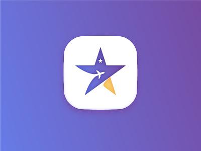 App Icon star + plane - Daily UI #005 gradient plane star dailyui005 005 icon app dailyui