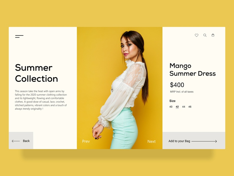 Fashion E-commerce Website dress girls apparel shopping yellow fashion flipkart amazon commerce application minimalistic minimal illustration ux ui