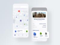 Planning App 2.0. Update & Refresh building location map white app menu timeline navigation ux animation ui iphone mobile app