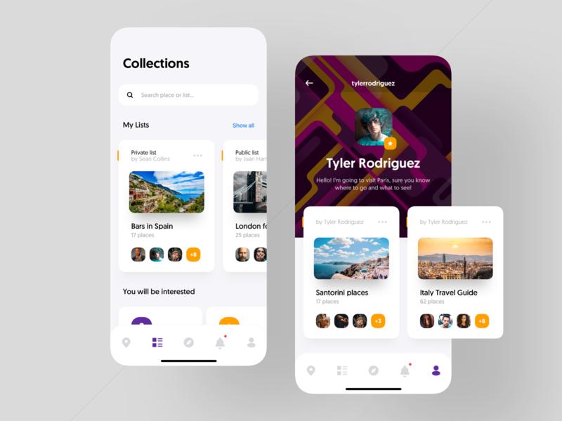 Travel App. cuberto tabbar menu free iphone collection instagram illustrations icon avatars freelance max social navigation map profile travel
