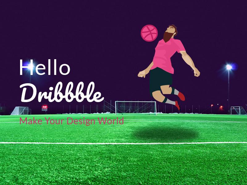 Hello Dribbble! flat ball bounce splash colours colourfull hello hello dribbble dribbble ball dribbble firstshot football ball branding design illustration