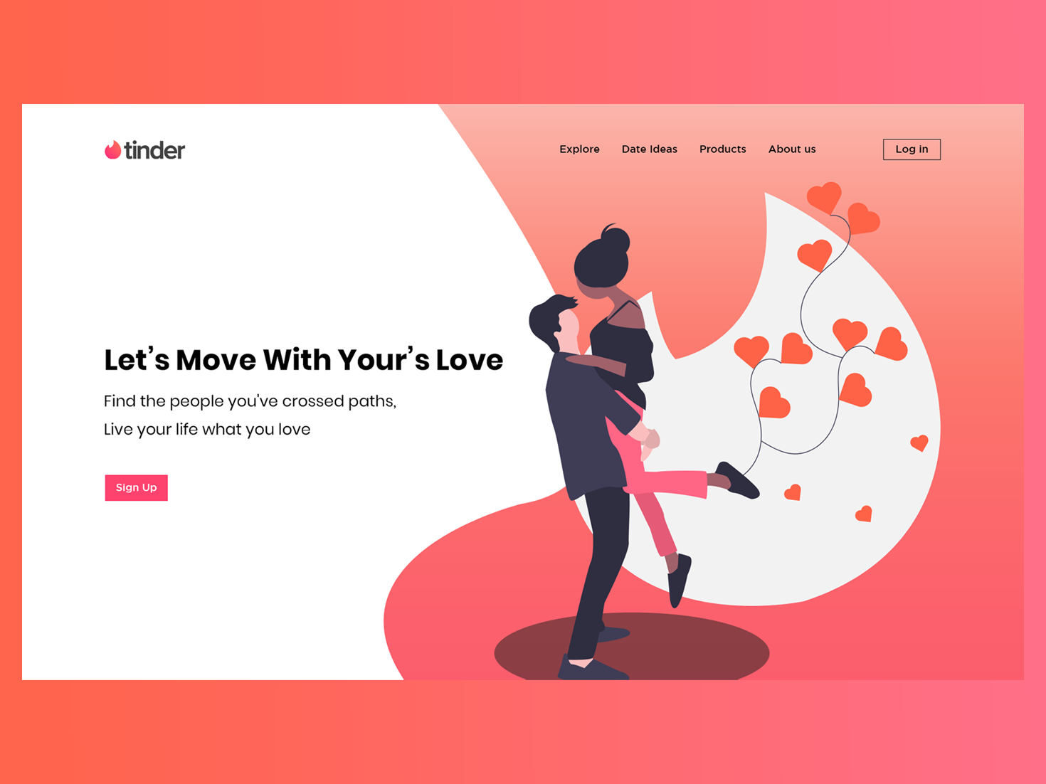 Tinder _ Landing  Page (Dating Web App) website web  design ux landing page interaction design graphic design tinder illustration flat ui colourfull illustraion dating website web design branding datingapp