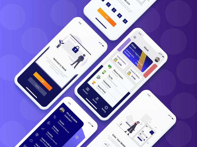 Banking_APP typography vector flat otp home screen login screen inpiration inspiring branding mock up illustration design ui app  design banking banking app