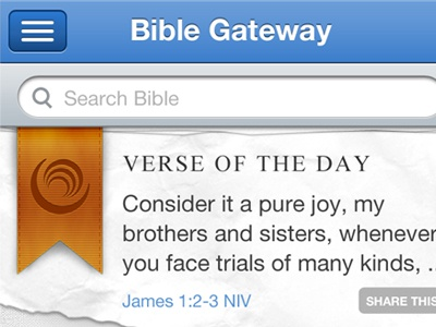 Bible Gateway iPhone Dashboard