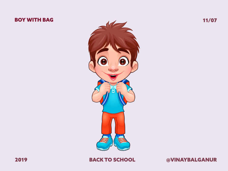Boy with Bag - Back to School illustartion 2d school bag school boy bag boy charecter design 2d character vector flat adobe illustration design illustration
