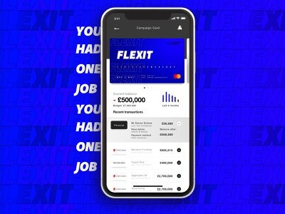Flexit; because budgets don't mean a thing vote money debit card accordion drop down statements parody payment credit card campaign political banking bank design branding nav mobile ui app carousel