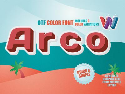 Color font - Arco 3d font typedesign display type sweet font sans serif otf font svg font color fonts font minimal typography design