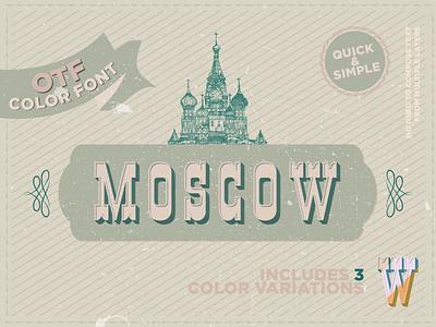 Moscow - OTF color font headline popular font serif font retro color font vintage font display font color fonts minimal otf font typedesign 3d font