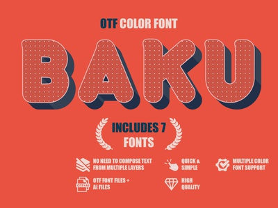 Baku - OTF color font pretty fonts lowercase characters sans serif cute font colorful display fonts fontself webfont popular font modern font elegant font beauty fonts color fonts otf font minimal typedesign 3d font