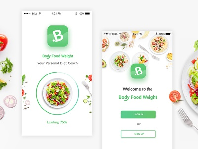 Mobile App  Body Food Weight design logo app ux ui