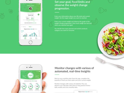 Landing Page Bodyfoodweight interaction web animation diet health food landing page website design app