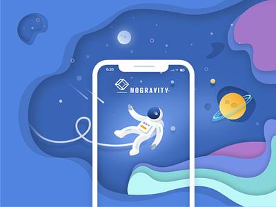 Nogravity Ilustration astronaut banner violet blue space cosmos illustration design app