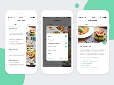App Ui - Food& Drink - Category List, Places, Restaurant Article