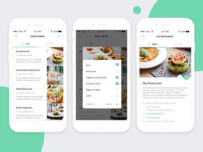 App Ui - Food& Drink - Category List, Places, Restaurant Article category list filters article list category food diet ux ui app