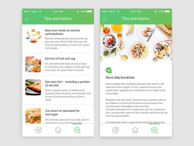 Tips And Advice bodyfoodweight body app design list food diet design ui ux app