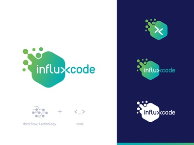 Logo Influxcode  Concept1 it illustration mark identity typography vector branding design logo