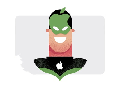 AppleMan hero superhero character design character design simple illustration