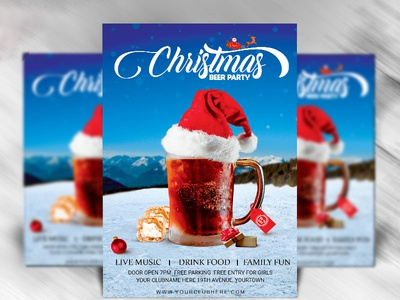 Christmas Party Flyer Template Dribble