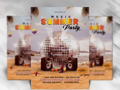 Summer Music Party Flyer Template  Dribble