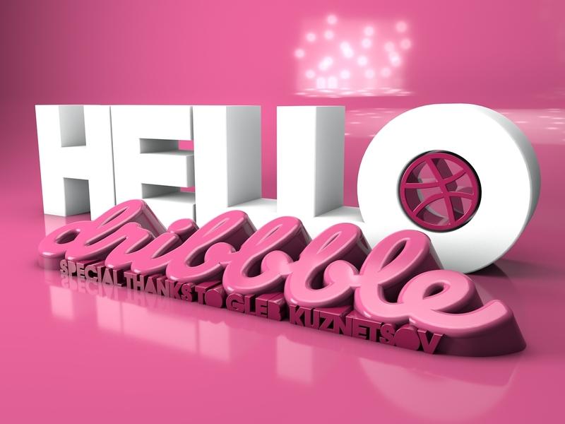 Hello Dribbble dribbble typography cinema 4d art abstract 3d