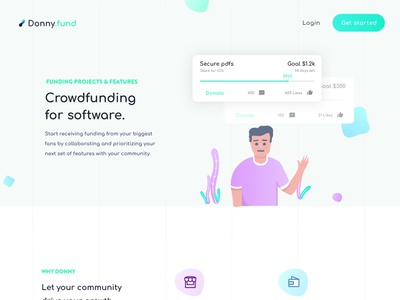 donny.fund - Crowdfunding for software community project feature platform interaction visual ux ui tech startup funding donation portal website design software crowdfunding fund donny donny fund