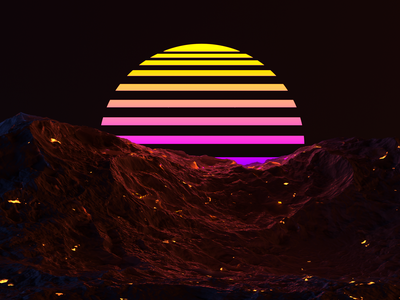 Synthwave Sunset mountain synthwave 3d art 3d