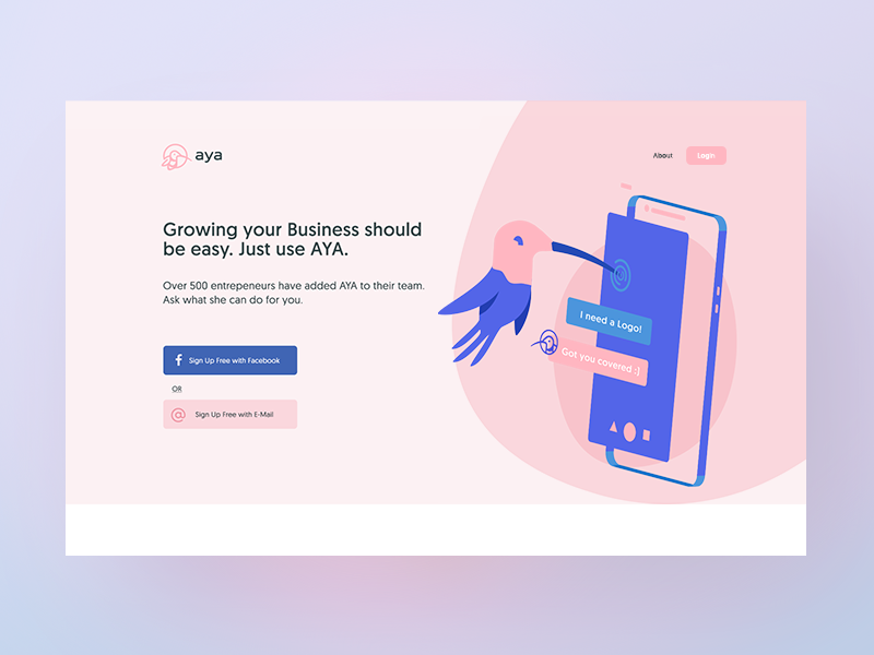 AI Service Website Landing Page header illustration design website landing page