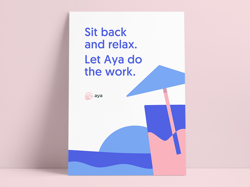 Aya Poster #1 cocktail mockup relax vacation branding bird poster