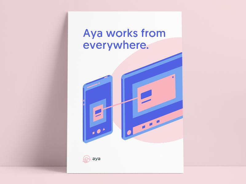 Aya Poster #3 minimal simple blue task checkbox branding bird poster