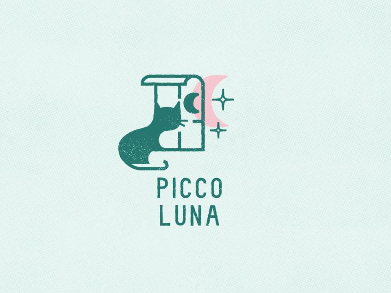 Piccoluna Logo weathered rough window night moon children publisher books cat