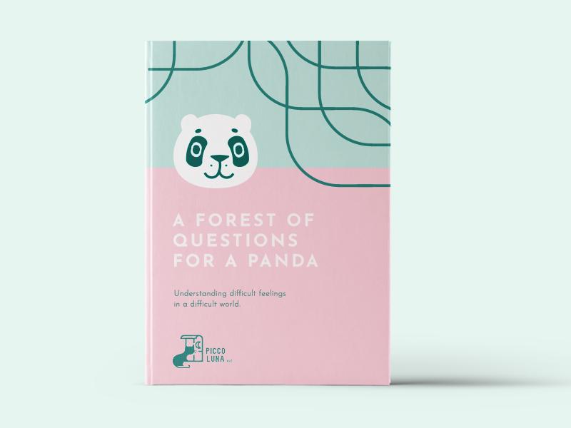 Piccoluna Book Concept publisher cat questions forest pink panda branding book concept