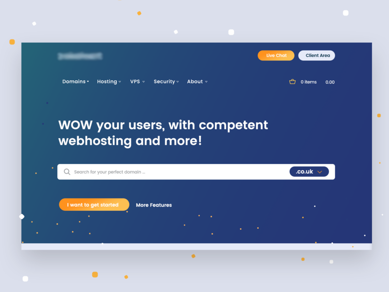 Hosting Project #1 flat gradient webhoster minimal blue and yellow blue web hosting